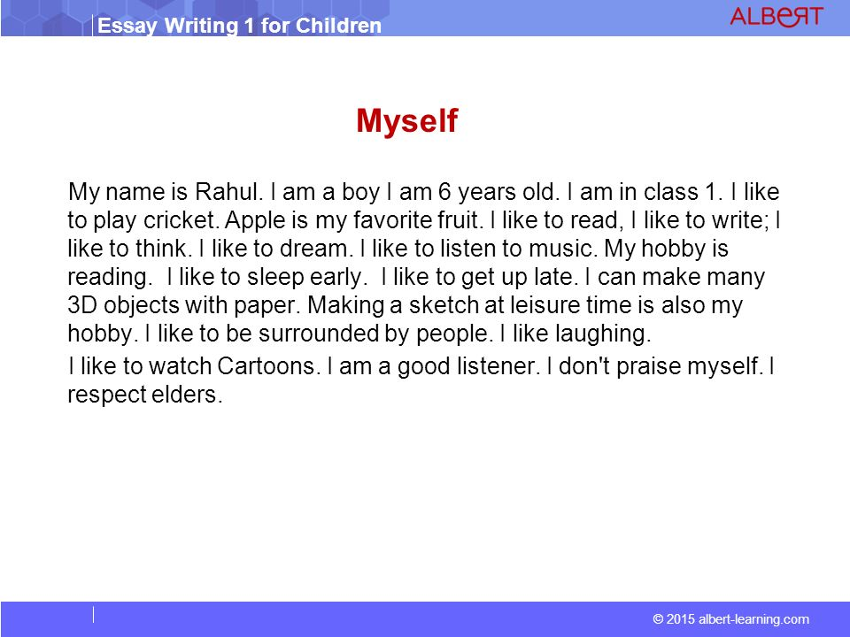 essay writing in my self A step-by-step guide to writing a basic essay, along with links to other essay-writing resources.