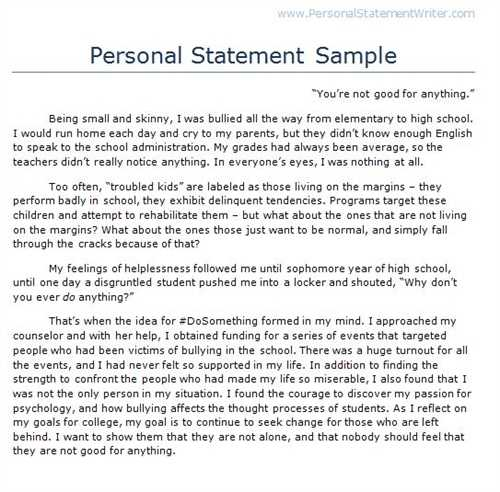 Personal help with writing personal statement