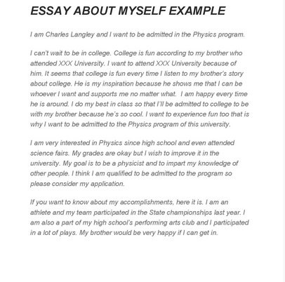 Writing an essay about myself