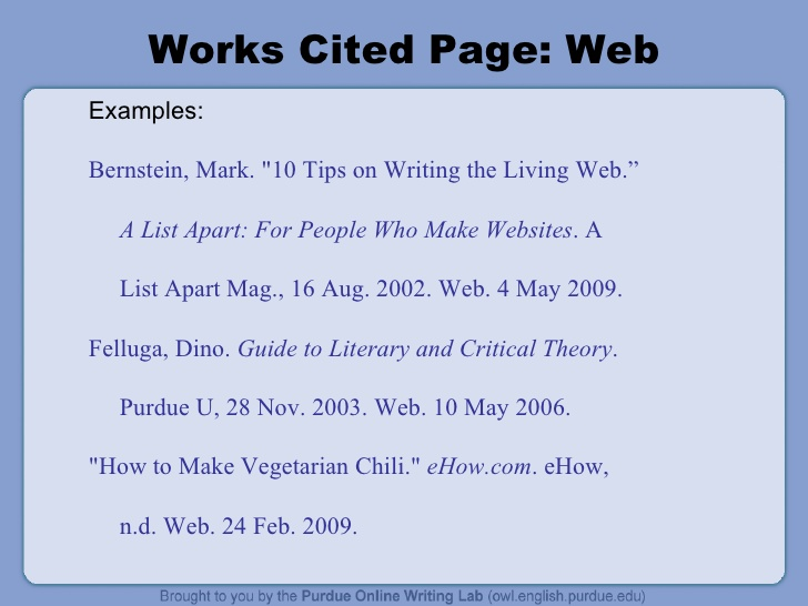 work cited page mla